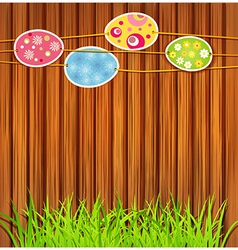 wooden wall easter eggs vector image vector image