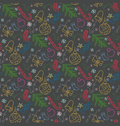 christmas doodle color pattern vector image vector image