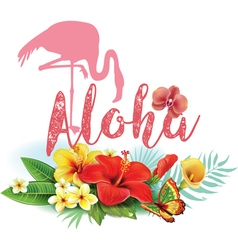 Flamingoes and Arrangement from tropical flowers vector image