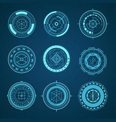 hud interface futuristic graphic elements set vector image
