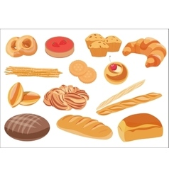 Bakery product assortment set vector image vector image