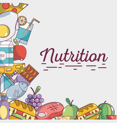 food natural nutricion ingredients background vector image vector image