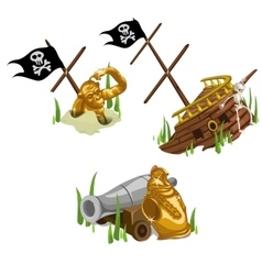 Remains of the ship gold monkey skeleton and gun vector image vector image