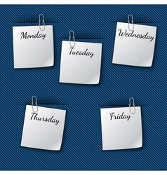 The week notes clipped to the blue cloth vector