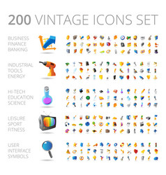 vintage icons set for business and technology vector image