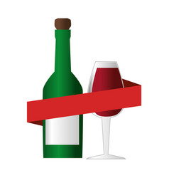 wine bottle with cork and glass cup and ribbon vector image
