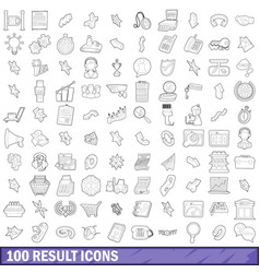 100 result icons set outline style vector image
