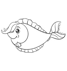 a children coloring bookpage a cartoon fish on vector image