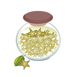 A Jar of Delicious Pickled or Preserved Starfruits vector image