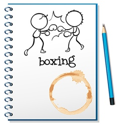 A notebook with two boxers at the cover page vector