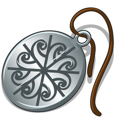 ancient silver pendant with slavic symbol isolated vector image