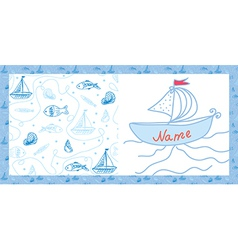 Baby card sea motif with ships vector image