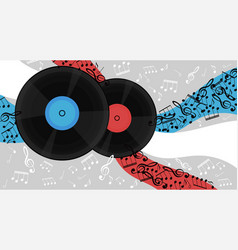 banner with vinyl records and notes image vector image