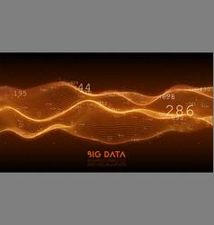 big data orange wave visualization futuristic vector image