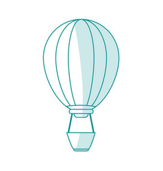 blue silhouette shading cartoon hot air balloon vector image