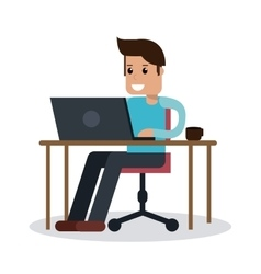 Boy Working on laptop design vector