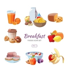 Breakfast food icons in cartoon style vector image vector image