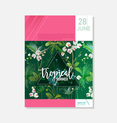 Brochure template tropical orchid flowers graphic vector