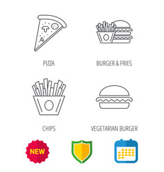 burger pizza and chips fries icons vector image