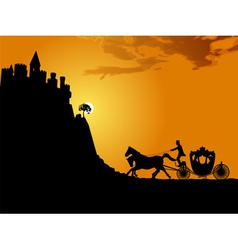 Carriage at sunset vector