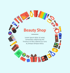 Cartoon beauty cosmetics store banner card circle vector