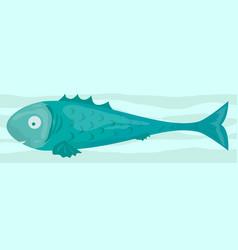 cartoon funny raw green fish icon vector image