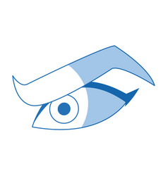 Cartoon male eye angry expression icon vector