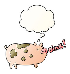 Cartoon oinking pig and thought bubble in smooth vector