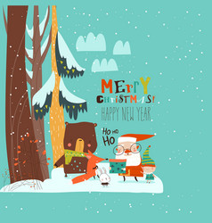 cartoon santa claus with animals in winter vector image