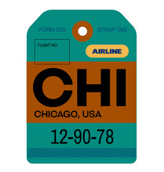 Chicago airport luggage tag vector