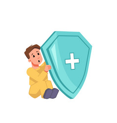 Child with medical shield protection from viruses vector