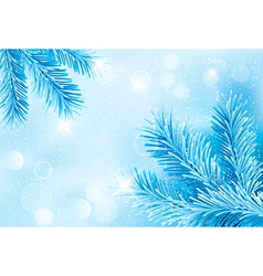 Christmas blue background with christmas tree vector image