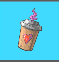 coffee to go cup cartoon hot vector image