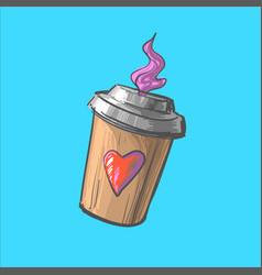 coffee to go cup cartoon hot vector image