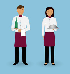 Couple of waiter and waitress with dishes and in vector
