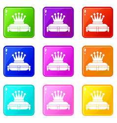 Crown king icons 9 set vector