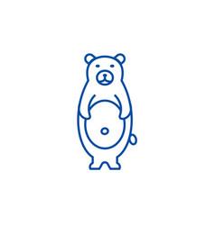 cute bear line icon concept cute bear flat vector image