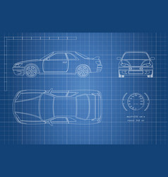 Drawing of the car on a blue background vector