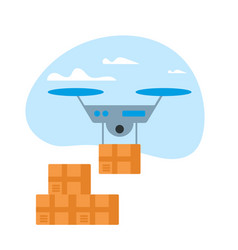 drone delivery box in blue sky with clouds icon vector image