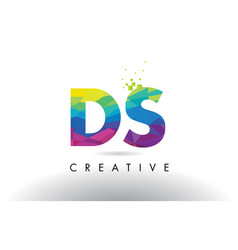 Ds d s colorful letter origami triangles design vector