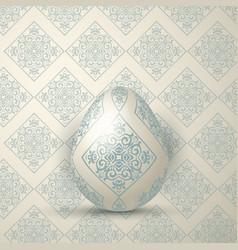 Elegant easter egg on damask pattern background vector