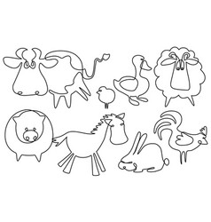 Farm animals one line drawing vector