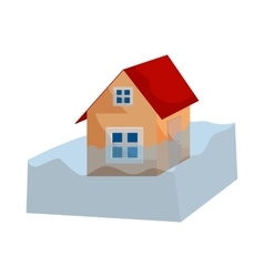 Flood insurance icon cartoon style vector