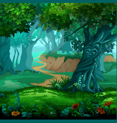 forest of magic moving trees cartoon vector image