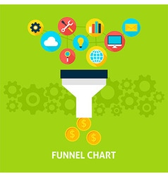 Funnel Chart Flat Concept vector