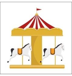 Funny carousel horses circus festival vector
