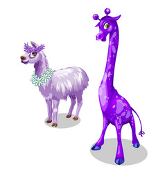 Funny giraffe and lama in purple color vector