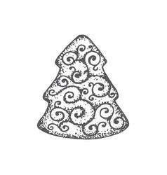 hand drawn christmas cookie pine vector image