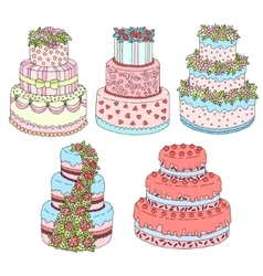 Hand drawn set with cute triple birthday vector