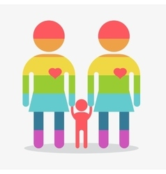Happy gay girl family rainbow icon vector